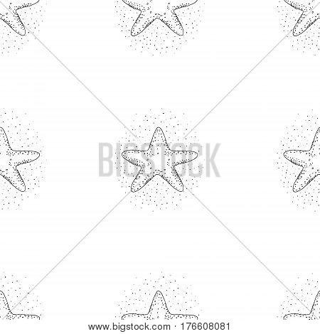 Hand drawn vector illustrations - seamless pattern of starfish . Marine background.