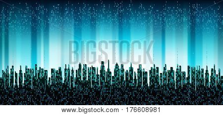 The city online. Abstract futuristic digital city, cloud service connected, skyline background. Network digital technology