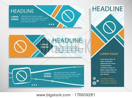 Not Allowed Sign  On Horizontal And Vertical Banner. Modern Banner Design Template.