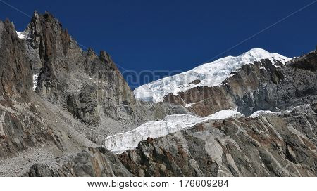 Landscape near Cho La mountain pass Everest National Park Nepal.