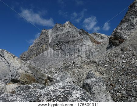 Landscape on the way to Cho La mountain pass Everest National Park Nepal.