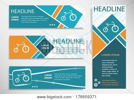 Bicycle Icon On Horizontal And Vertical Banner. Modern Banner Design Template.