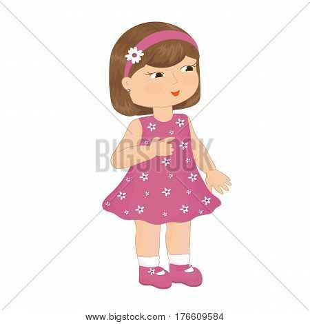 Little girl in a pink dress. Vector illustration.