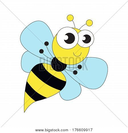 Cute wasp cartoon. Outlined character with black stroke.