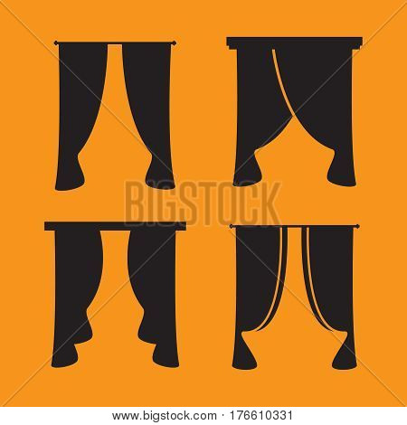 black curtain icons on white background. Curtains collection