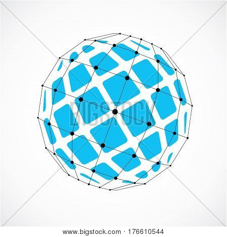 3D Vector Digital Wireframe Spherical Object Made Using Facets. Geometric Polygonal Blue Structure C