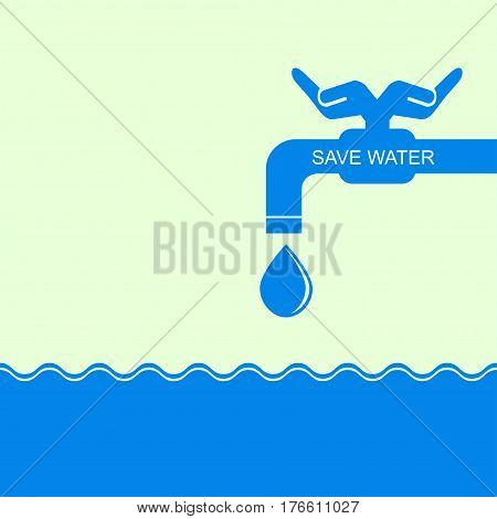 Icon save environment and water concept. Abstract vector background. For web and mobile applications, illustration template design, business infographic, brochure. Water conservation concept.