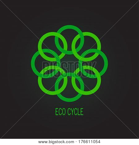 Green flower  abstract vector logo design template. Medicine, Healthcare, green eco creative concept icon. Cycle eco symbol concept.