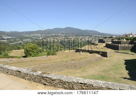 View of Galicia Spain from the fort in Valenca do Minho in Portugal