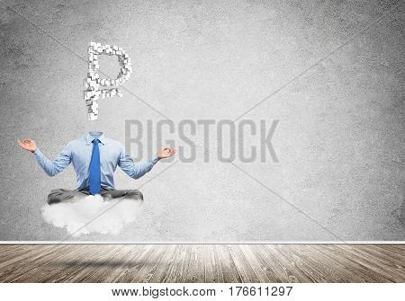 Meditating businessman with rouble sign instead of his head