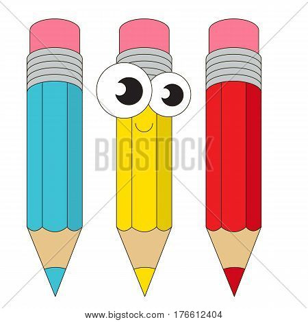Three pensils cartoon. Colorful outlined school janitor with black stroke.