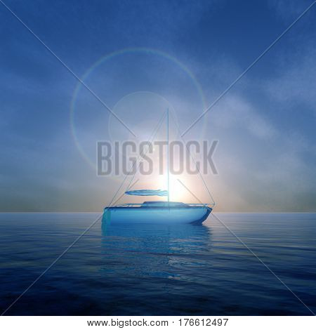 A surreal future crystal boat on lake against an early sunrise 3d Illustration.