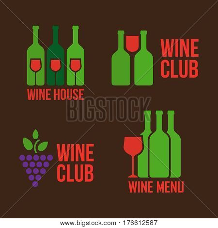 Wine shop logos set. Colorful icons with vine