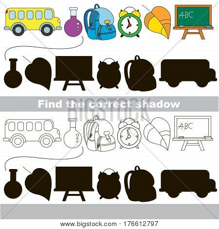 School objects set with shadows to find the correct one. Compare and connect objects and their true shadows.