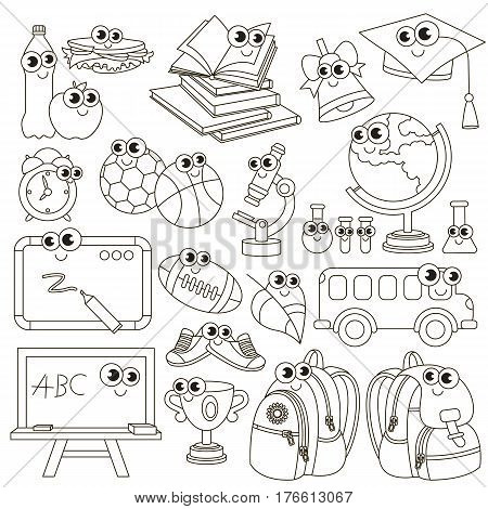 School janitor set to be colored. Coloring book to educate preschool kids. Easy kid educational gaming and primary education of simple level of difficulty.