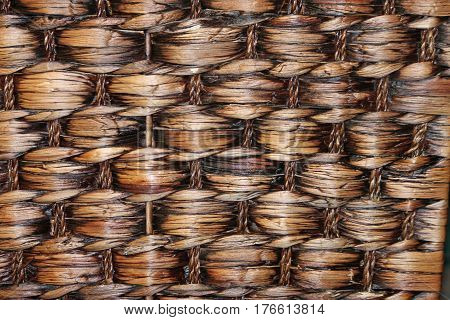 Closeup of te Weave on a Brown Woven Basket