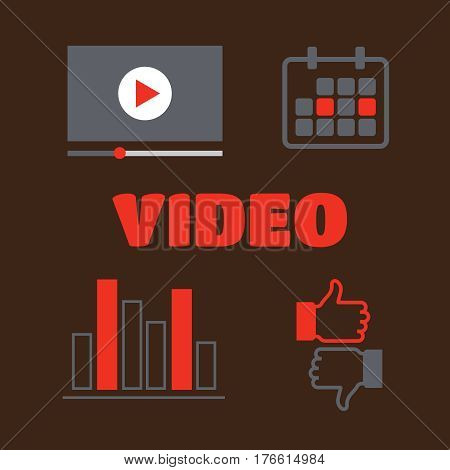 Video player for web illustration. Video player interface illustration