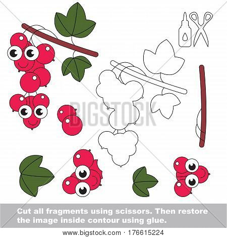 Use scissors and glue and restore the picture inside the contour. Easy educational paper game for kids. Simple kid application with Funny red currant