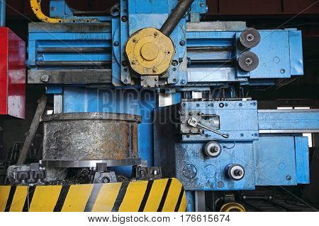 Lathe machine cutting iron taken closeup.Mechanical engineering.