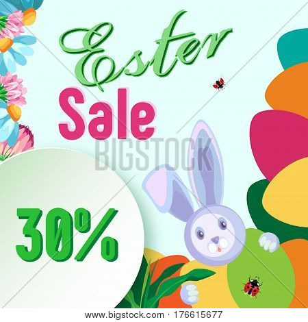 Vector frame for sale for the holiday of Easter. From flowers and eggs. In the corner a rabbit appears