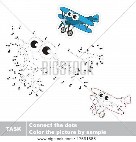 Funny Toy Biplane in vector to be traced by numbers, the easy educational kid game with simple game level, the education and gaming for kids, visual game for children.