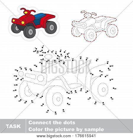 Quad bike in vector to be traced by numbers, the easy educational kid game with simple game level, the education and gaming for kids, visual game for children.