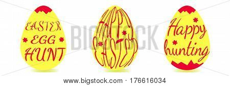 A set of yellow easter eggs decorated with red text. Vector Illustration. Inscription Happy Easter