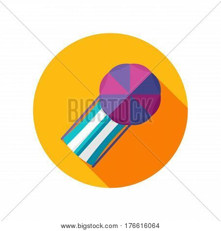 Beach chaise lounge with umbrella vector icon. Summer. Summertime. Holiday. Vacation eps 10