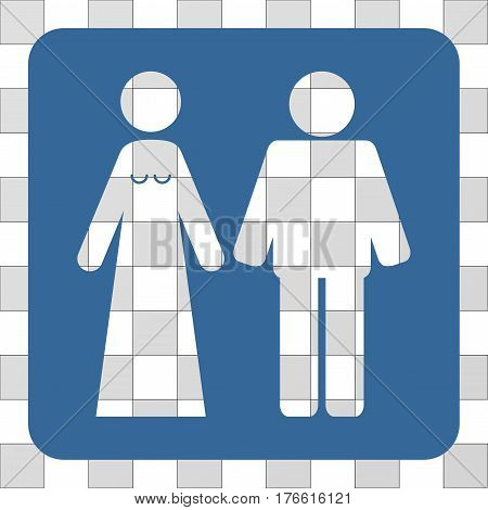 Married Groom And Bribe square icon. Vector pictograph style is a flat symbol hole on a rounded square shape, cobalt blue color.