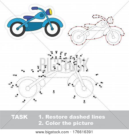 Bike in vector to be traced by numbers, the easy educational kid game with simple game level, the education and gaming for kids, visual game for children.