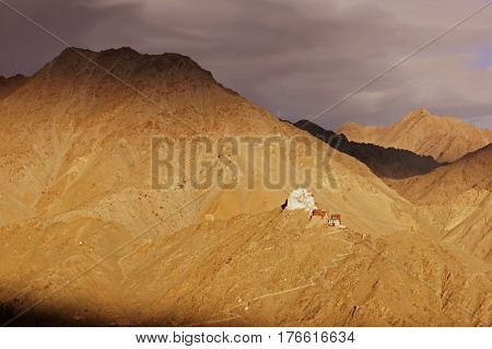 Sunset View over the Ancient Namgyal Tsemo Gompa in the Town of Leh Situated in the High-Altitude Mountain Desert in the Himalayas, Ladakh, Northern India.
