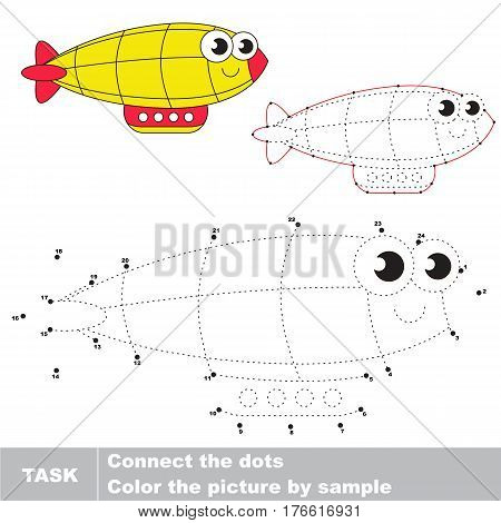 Funny Toy Zeppelin in vector to be traced by numbers, the easy educational kid game with simple game level, the education and gaming for kids, visual game for children.
