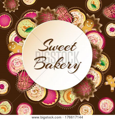 Sweet bakery background with different cupcakes and cookies gingerbread man on a chocolate background