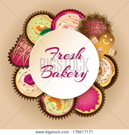 Vector background with different cupcakes and round ram for text