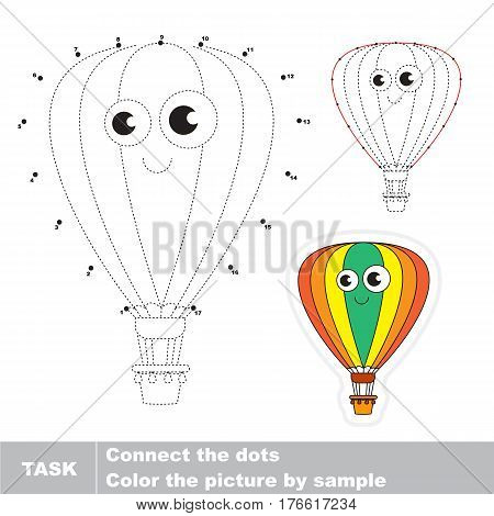 Funny Toy Balloon in vector to be traced by numbers, the easy educational kid game with simple game level, the education and gaming for kids, visual game for children.