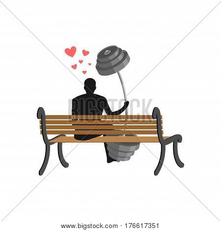Lover Fitness. Man And Barbell Sitting On Bench. Lovers Sport. Always Together. I Love Bodybuilding