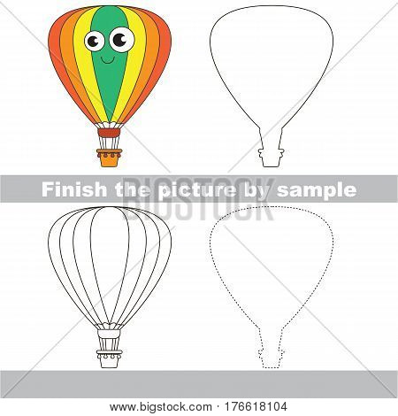 Drawing worksheet for children. Easy educational kid game. Simple level of difficulty. Finish the picture and draw the Funny Aerostat.