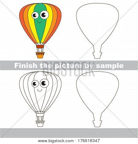 Drawing worksheet for children. Easy educational kid game. Simple level of difficulty. Finish the picture and draw the cute Balloon