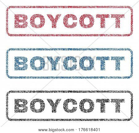 Boycott text textile seal stamp watermarks. Blue red black fabric vectorized texture. Vector tag inside rounded rectangular shape. Rubber emblem with fiber textile structure.