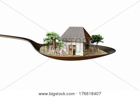 isolate house in spoon real estate business concept photo
