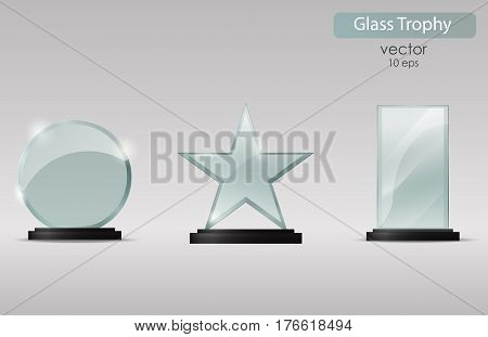 Set of glass cups. Glass Trophy Award. Vector illustration isolated on transparent background. Realistic 3D design. Realistic vector transparent object 10 eps.