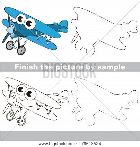 Drawing worksheet for children. Easy educational kid game. Simple level of difficulty. Finish the picture and draw the Funny Biplane