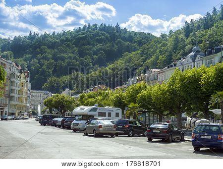 Karlovy Vary Czech republic - August 26 2016: Car parking near Promenade Karlovy Vary Czech republic August 26 2016
