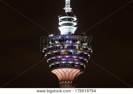 Night detail of Menara TV tower Kuala Lumpur Malaysia