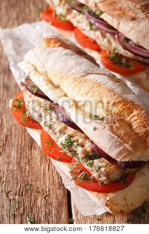 Turkish Sandwich Balik Ekmek With Fried Mackerel Close-up. Vertical