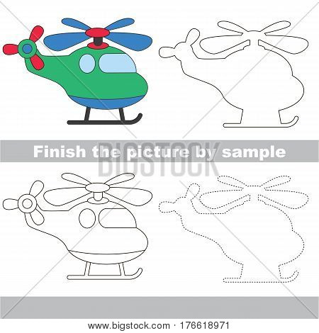 Drawing worksheet for children. Easy educational kid game. Simple level of difficulty. Finish the picture and draw the Copter