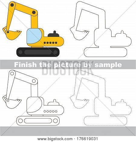Drawing worksheet for children. Easy educational kid game. Simple level of difficulty. Finish the picture and draw the Excavator