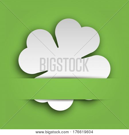 Cut out four leaf clover attached in the green paper pocket. St Patricks Day card with text label. EPS10 vector illustration.