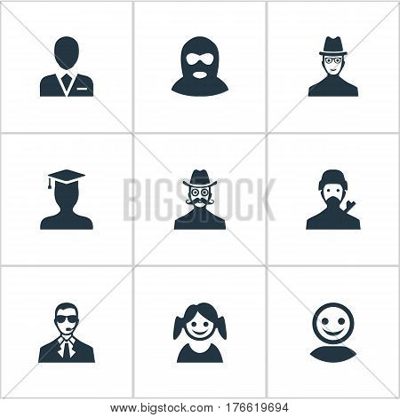 Vector Illustration Set Of Simple Avatar Icons. Elements Felon, Internet Profile, Workman And Other Synonyms User, Mysterious And Offender.