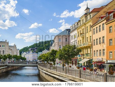 Karlovy Vary Czech republic - July 18 2016: Tepla River and Promenade street in Karlovy Vary Czech republic July 18 2016